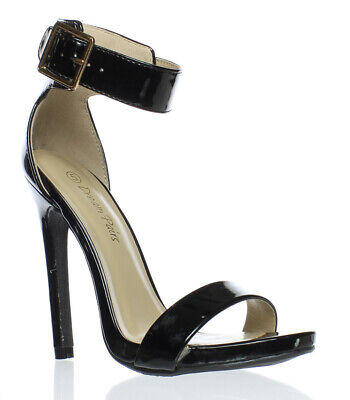 DREAM PAIRS Womens Black Ankle Strap Heels Size 5 (18003)