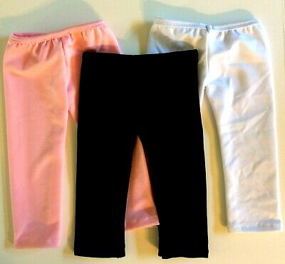 "3 Pairs Leggings Pants Pink Black White Fits 18"" Inch American Girl Doll Clothes"
