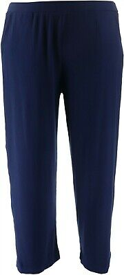 Dennis Basso Wide-Leg Tuxedo Pull-On Pants Navy L NEW A310226