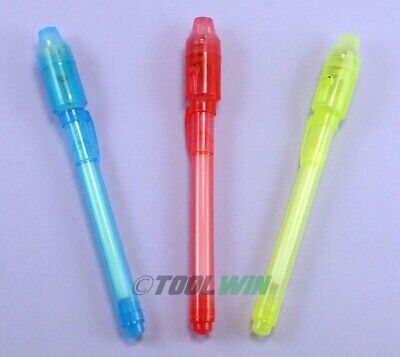 3 Invisible Ink Secret Marker with Built-in UV Light Magic Spy Pen