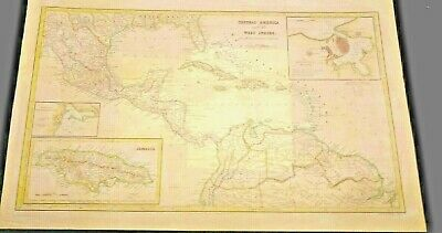 LARGE COLOR MAP of Central America& West Indies 1853 Gulf of Mexico Cuba Jamaica