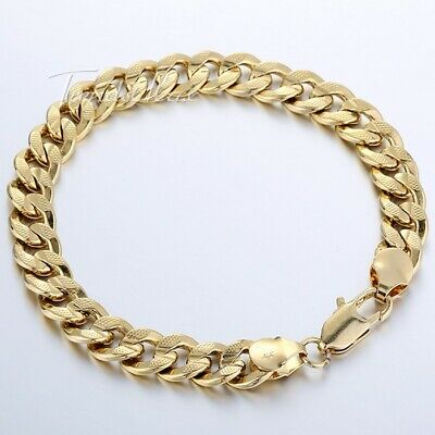 9mm 9inch Mens Chain Womens Hammered Curb Cuban Yellow Gold Filled GF Bracelet
