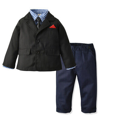 4PCS Baby Kids Boys Outfits Coat+Shirt+Necktie+Pants Weddings Party Formal Sets