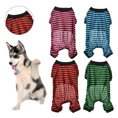 Summer Pet Dog Cat Clothes Comfy Pajamas Coat Stripes Jumpsuit Costume Fine