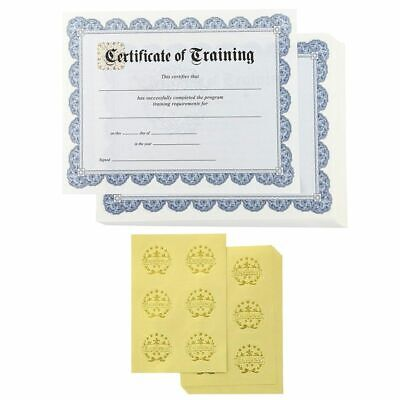 "48 Pack Certificate of Training Award with Gold Foil Seal Stickers 8.5"" x 11"""