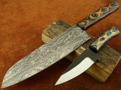 Set of 2 Handmade Damascus Hunting Knives Cleaving, Kitchen/Chef's Knife 151-05