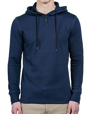 Volcom Mens Hoodie Navy Blue Size Large L Long Sleeve Waffle Knit $40 816