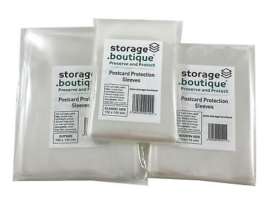 storage.boutique POSTCARD Protection Sleeves, Crystal Clear, Acid Free, 100