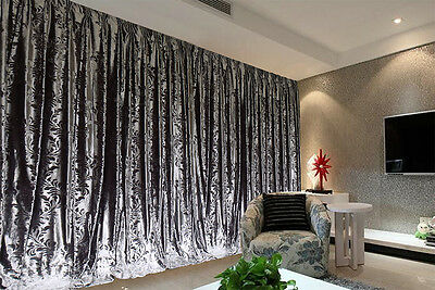 Large Thick Velvet Curtains Stunning Flocking 600x270cm+4m blockout+Hook Silver