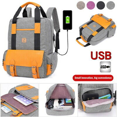 Unisex Anti-Theft Laptop Bag Outdoor Travel Backpack+ USB Port Bags Rucksack