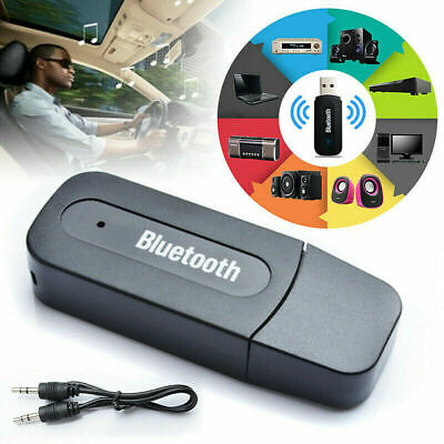 Hot USB Bluetooth Receiver Music Audio Dongle+3.5 mm AUX Adapter Car Speaker