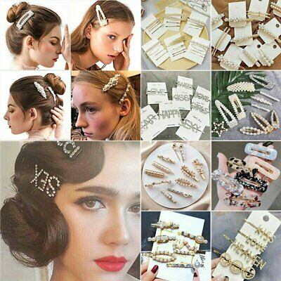 Women's Girls Pearl Hair Clip Hairpin Grips Barrette Hair Accessories Headdress