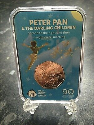 Peter Pan BUNC Capsule Edition Fifty pence 50p & Free Stand - Isle of Man 2019