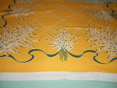 Vintage Pretty Yellow Lily Of The Valley Tablecloth