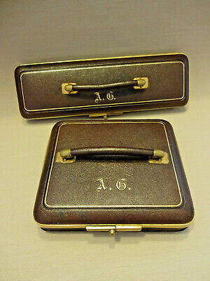 ANTIQUE FRENCH GLOVE CASE WITH MATCHING HANDKERCHIFE CASE & CONTENTS, c 1890