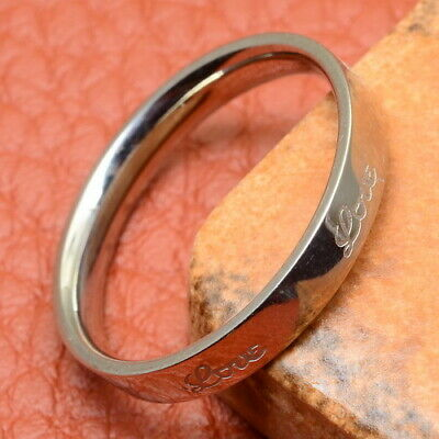 """Excellent! Carved """"Love"""" Stainless Steel Unisex Ring Sz 7"""
