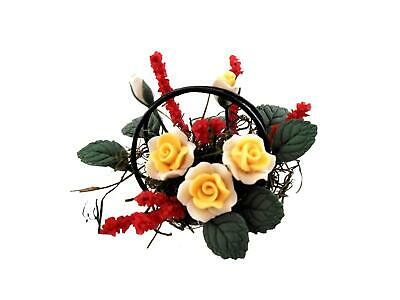 Dolls House Yellow & White Roses with Red Flowers in Black Wire Basket 1:12