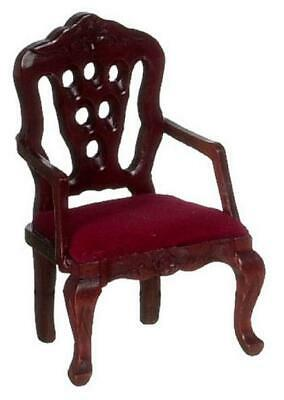 Dolls House Mahogany Victorian Carved Back Chair Miniature Lounge Furniture