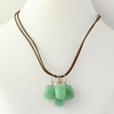 NEW Aventurine Quartz Dangle Necklace - 925 Sterling Silver Clasp Brown Chord