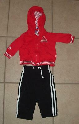 Baby Boys 3 - 6 Months Red ST LOUIS CARDINALS Hooded Zip Up Jacket & Black Pants