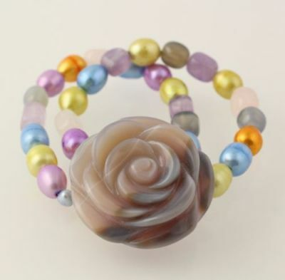 New Chunky Beaded Flower Bracelet Agate Pearl Rose Quartz Amethyst Stretch Band