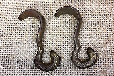 2 Picture molding rail hooks with SNAKE HEADS old painting hangers vintage brass