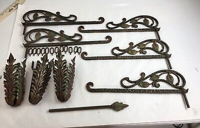 Vintage Pair Polychrome Deco Wrought Iron Swivel Swing Arm Curtain Rods