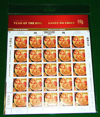 """Lunar New """"YEAR OF THE DOG, Année Du Chien, 狗, Sealed, Full Pane, 25 MNH Stamps"""