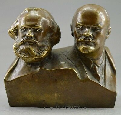 Collectible Decorated Old Handwork Copper Carved Marx And Lenin Statue