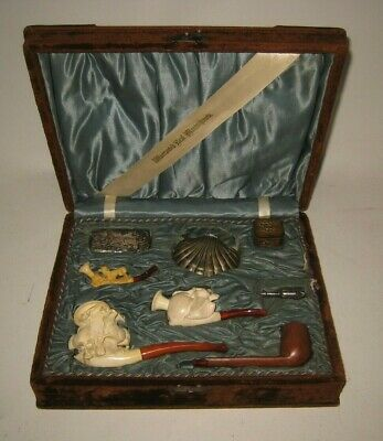 1892 Meerschaum 4 Pipe Smoking Set & Accessories in Original Box Cigar Cutter ++