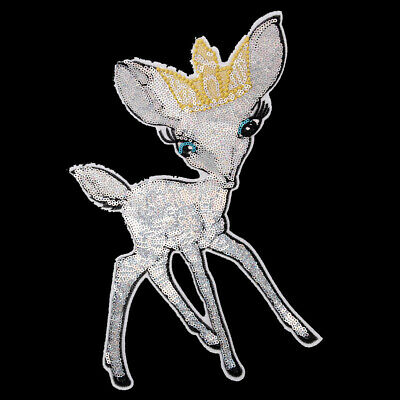 Decorative Cute Sequin Deer Sew On Patch Badge Christmas Ornament For Clothes