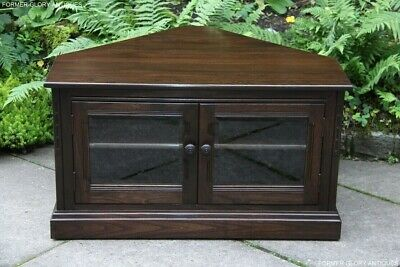Ercol Traditional Elm Corner Tv Cabinet Hi Fi Cd Dvd Stand Coffee Table Cupboard