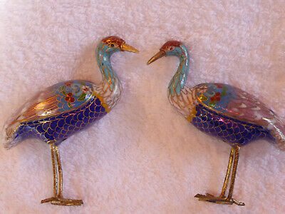 Pair of cloisonne stork crane or some other kind of bird Japanese or Chinese