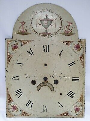 Antique Painted Grandfather Longcase Clock Dial Face Chepstow