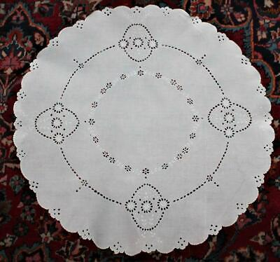"Vintage White 27"" Round Embroidered Cutwork Eyelet Scallop Edge Tablecloth Doily"