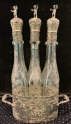 Lovely Antique German Hanau 800 Silver Etched Glass 3 Part Decanter Set