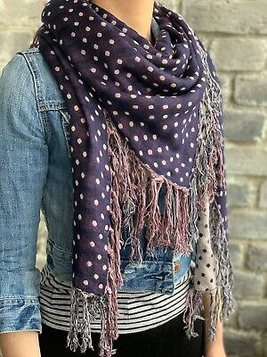 PIECES Double Sided Polka Dot Purple White Scarf Shawl with Tassles