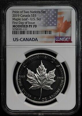 2019 Modified Proof Silver Maple Coin NGC PF70 Pride of Two Nations FDOI SKU C52