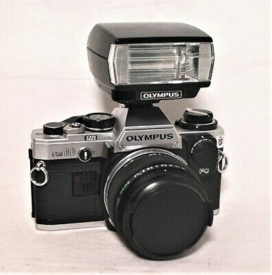 Olympus Om10 35Mm Slr 1980 Usa Olympics W/ Zuiko 50Mm 1.4 - T20 Flash - Fc Attc.
