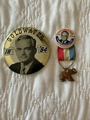 Barry Goldwater 1964 Campaign Ribbon Pin Pinback Button Elephant Political Badge