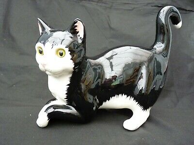 Cats & Co. Large Black/White Cat. Glass eyes. to put on end of shelf or stand.