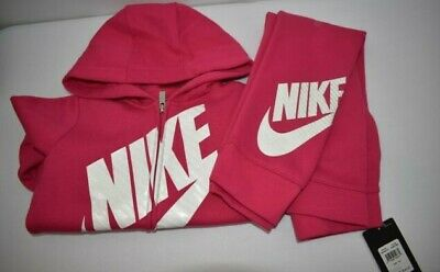 Nike Girls Zip Hoodie & Sweat Pants 2 Pcs Sets Sz 6 New With Tag