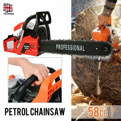 "52cc 3.4HP 20"" Petrol Chainsaw + Chains + Oil Bottles + Carrying Bag +More UK"