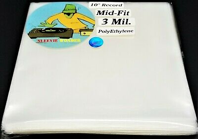 """Outer Sleeves for Ten Inch Vinyl Records 3mil Mid Fit Plastic 10"""" dj 78rpm poly"""