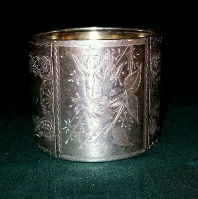 Marvelous Silver Plate Napkin Ring - Pretty Design - Initials L E H - Excellent