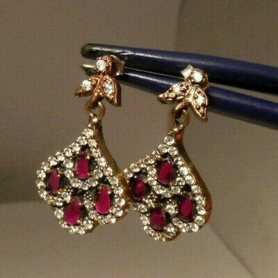 925 Sterling Silver dangle Antiqued Turkish Earrings Ruby Ottoman Queen **