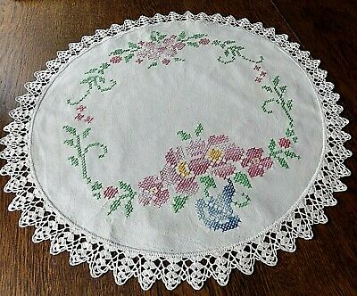 "Vintage 18"" Hand Embroidered Cross Stitch Linen Doily Hand Crochet Edge"