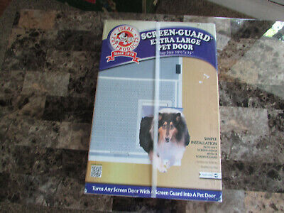 "Screen Guard Extra Large Pet Door Flap Size 10 1/2 x 15"" For Pets Up to 90 LBS."