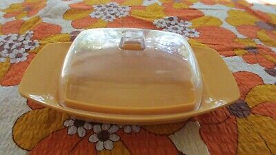 Vintage plastic Hollywood Yellow Butter Dish with clear cover Tamco Australia