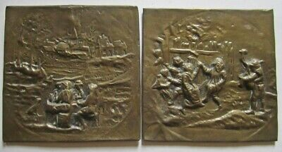 "Pair of Vintage Scenic Brass 4.75""/12 cm Wall Tiles/Plaques"